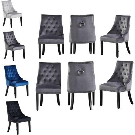Windsor Velvet Chair | Tufted Velvet Chair | Door Knocker | Studded | Dining Chair | Accent Chair | Dresser Chair | SET OF 6 - DARK GREY