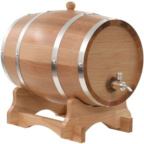 Wine Barrel with Tap Solid Oak Wood 12 L