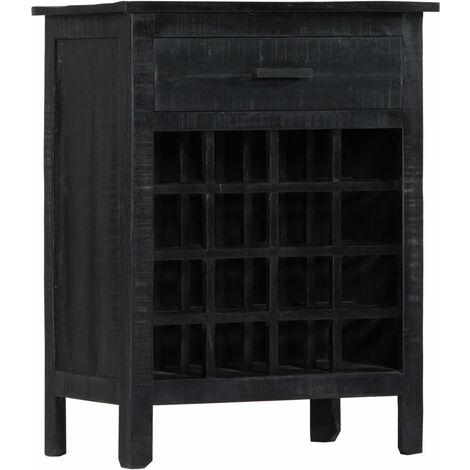 Wine Rack Black 56x35x75 cm Solid Mango Wood