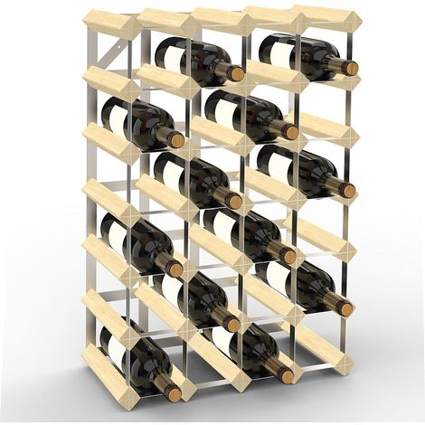 Wine Rack, Bottle Wine Holder, 30 bottles, 61,2 x 42 x 22,8 cm, Madera Natural, Tamaño: 61,2 x 42 x 22,8 cm