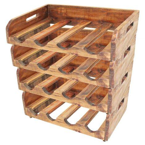 Wine Racks 4 pcs for 16 Bottles Solid Reclaimed Wood