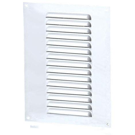 Grille aération rectangle 150x250mm 69cm2 - Alu blanc + anti-insecte - Winflex