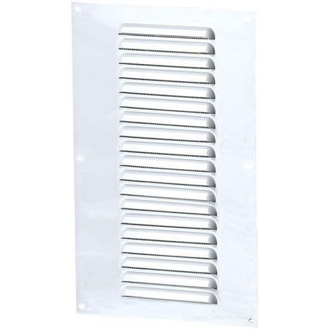 Grille aération rectangle 150x300mm 81cm2 - Alu blanc + anti-insecte - Winflex