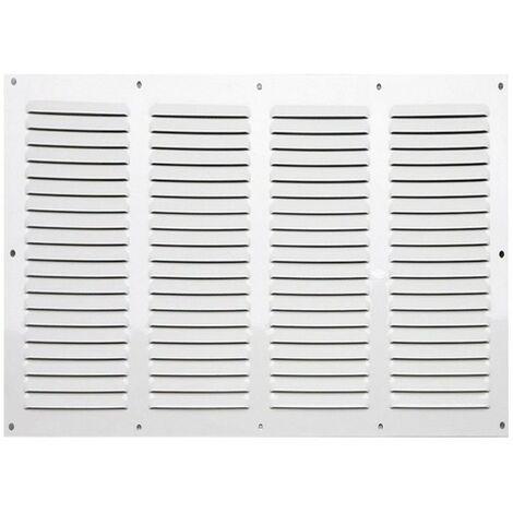 Winflex - Grille d\'aération 400x200mm acier blanc 4 rangées avec écran anti-insecte