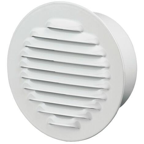 Winflex - Grille d\'aération ronde ø125mm acier blanc avec écran anti-insecte