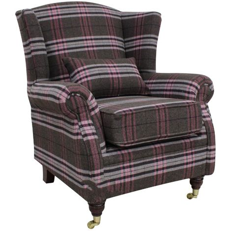 Wing Chair Fireside High Back Armchair Balmoral Aubergine Check Fabric
