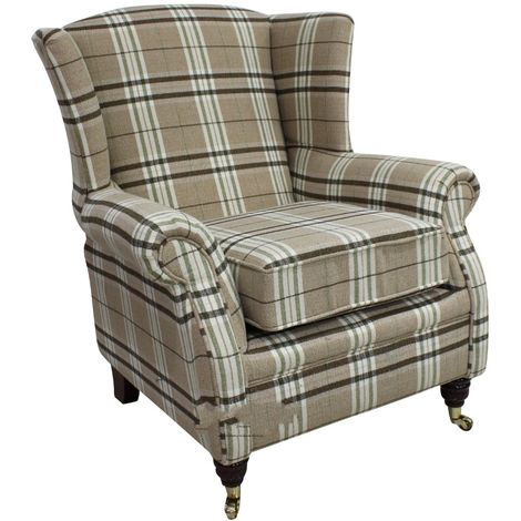 Wing Chair Fireside High Back Armchair Balmoral Check Fabric