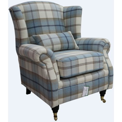 Wing Chair Fireside High Back Armchair Balmoral Sky Check Fabric P&S