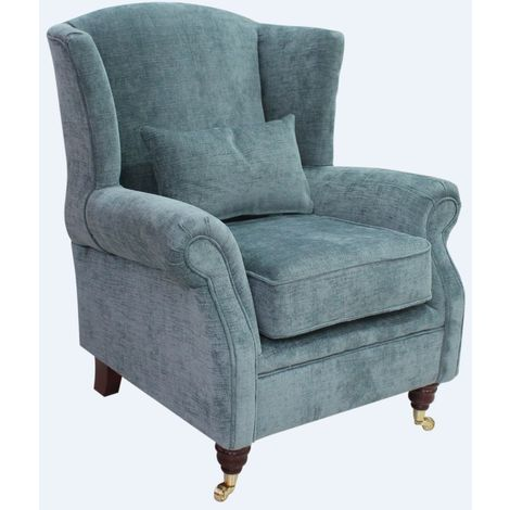 Wing Chair Fireside High Back Armchair Chelsea Sky Fabric