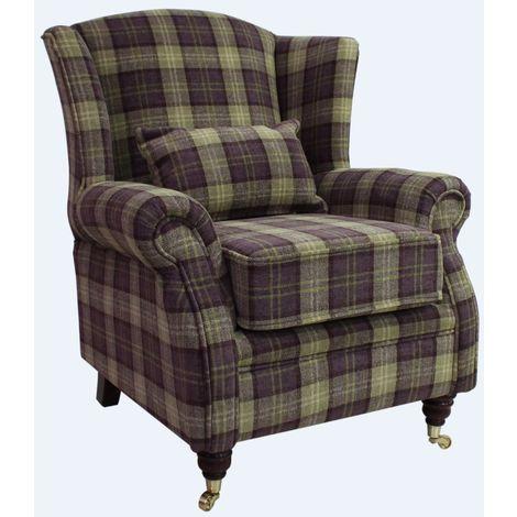 Wing Chair Fireside High Back Armchair Lana Purple Check Fabric
