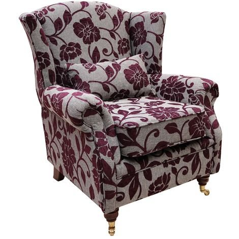 Wing Chair Fireside High Back Armchair Meghan Aubergine Fabric