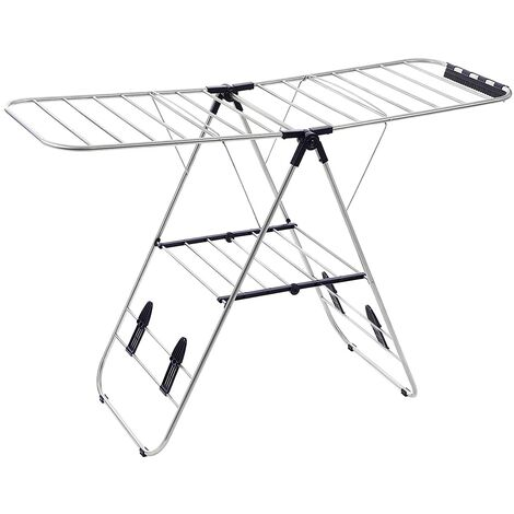 Winged Folding Clothes Airer, 16 Metre Drying Space, Laundry Drying Rack, Multifunctional Air Dryer, Stainless Steel Tubes Silver LLR502