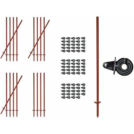 Winkelstahlpfahl 165 cm, 3 mm stark, 20 Stück + 75 Splintisolatoren