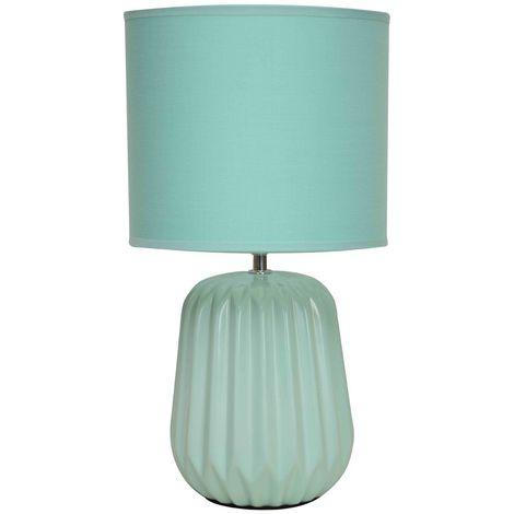 Winola Table Lamp, Turquoise Ceramic, Turquoise Fabric Shade