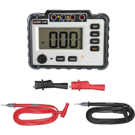 WinsPEAK VC60B + LCD testeur de resistance d'isolement a affichage numerique megohmmetre numerique Mesure de tension DC250V / 500V / 1000V AC750V sans batterie