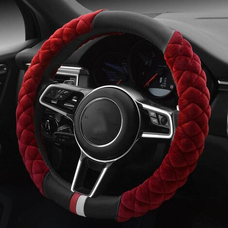 Winter Faux Fur Steering Wheel Cover - Fits Most Cars - 38cm - Interior Accessory