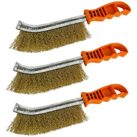 Wire Brush Rust Remover Spid Brass Brush Paint Cleaning 3 PACK