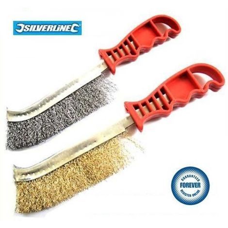 Wire Brushes 2Pc Steel /& Brass Heavy Duty DIY Tool Rust Paint Metal Remover