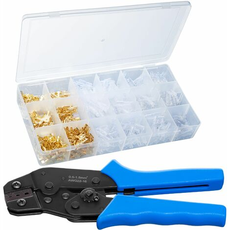Wire crimper with accessories - Wire crimper, wire cutting tool, crimping pliers - blue