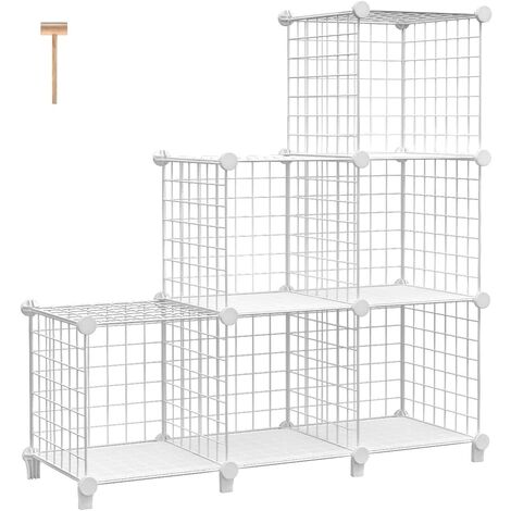 """main image of """"Wire Cube Storage Shelf Cube Shelf Storage Cube Closet Storage Shelf DIY Wire Bookshelf Storage Grid Modular Wire Cube Bookcase for Bedroom Home Office, White a"""""""