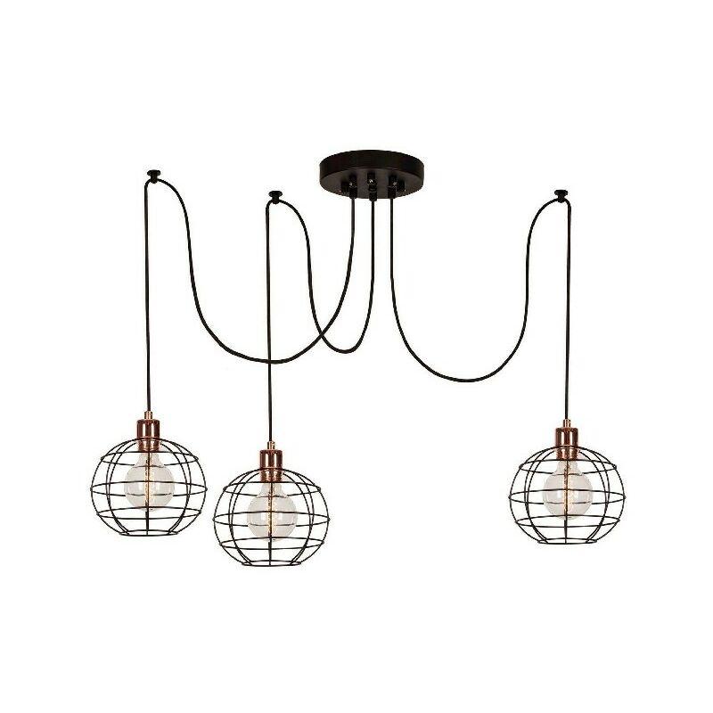 Wire-Fall Haengelampe - Kronleuchter - Deckenkronleuchter - Kupfer, Schwarz aus Metall, elektrostatische Farbe, 180 x 180 x 113 cm, 3 x E27, Max 100W