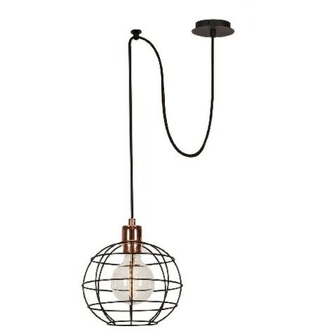 Wire-Fall Hanging Lamp - Chandelier - Ceiling Lamp - Copper, Black made of Metal, Electrostatic Paint, 100 x 20 x 113 cm, 1 x E27, Max 100W