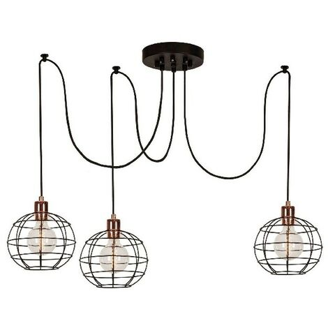 Wire-Fall Hanging Lamp - Chandelier - Ceiling Lamp - Copper, Black made of Metal, Electrostatic Paint, 180 x 180 x 113 cm, 3 x E27, Max 100W