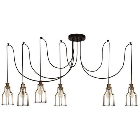 Wire-Fall Hanging Lamp - Chandelier - Cheiling Lamp - Copper, Black made of Metal, Electrostatic Paint, 180 x 180 x 114 cm, 6 x E27, Max 60W