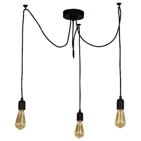 Wire Hanging Lamp - Chandelier - Cheiling Lamp - Black made of Metal, Electrostatic Paint, 180 x 180 x 93 cm, 3 x E27, Max 60W