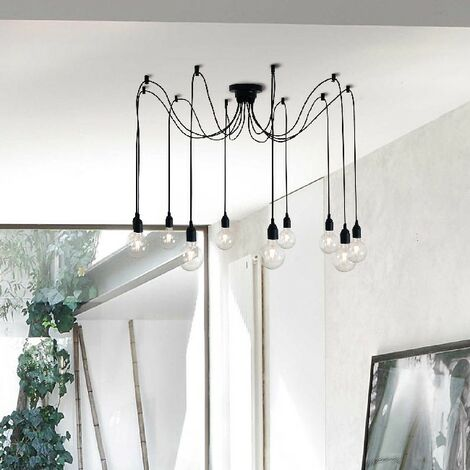 Wire Hanging Lamp - Chandelier - for Ceiling - Black Made of Metal, 120 x 120 x 63 cm, 10 x E27, Max 100W