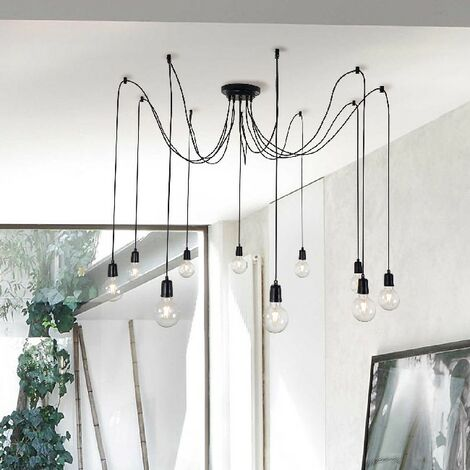 Wire Hanging Lamp - Chandelier - for Ceiling - Black Made of Metal, 180 x 180 x 93 cm, 10 x E27, Max 100W