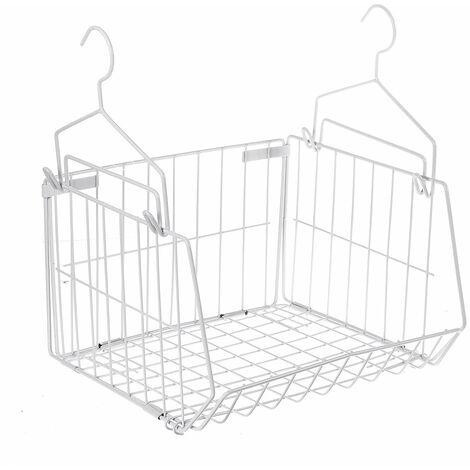 Wire Mesh Bathroom Caddy Rack Organizer Iron Storage Basket with Hooks (Black, with Hook)