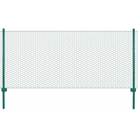 Wire Mesh Fence with Posts Steel 25x0.5 m Green
