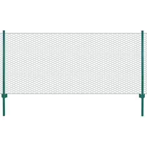 Wire Mesh Fence with Posts Steel 25x1 m Green - Green