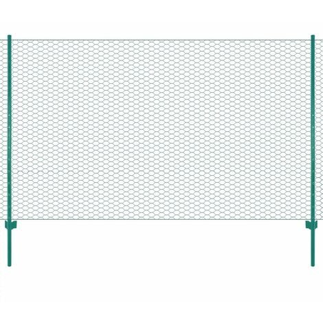 Wire Mesh Fence with Posts Steel 25x1.5 m Green - Green