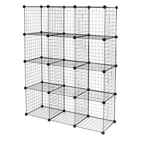 Wire Storage Organizer 147*111*37cm 12-Cube Storage Shelf Storage Modular Bookshelf Gift