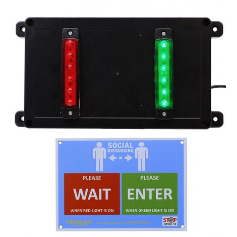 Wireless Door Entry Traffic Lighting Control System With Wall Sign [009-4570]