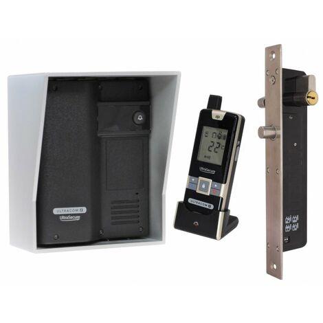 Wireless Door Intercom (UltraCom2) Black with Silver Hood & Electronic Door Lock [006-2770]