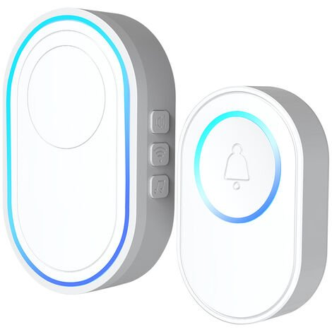 """main image of """"Wireless Doorbell Kit 1PCS Outdoor Doorbell + 1PCS Indoor Chime With LED 5 Levels Volume 58 Ringtones 328ft Operation Range Outdoor Door Bell,model:White UK Plug"""""""