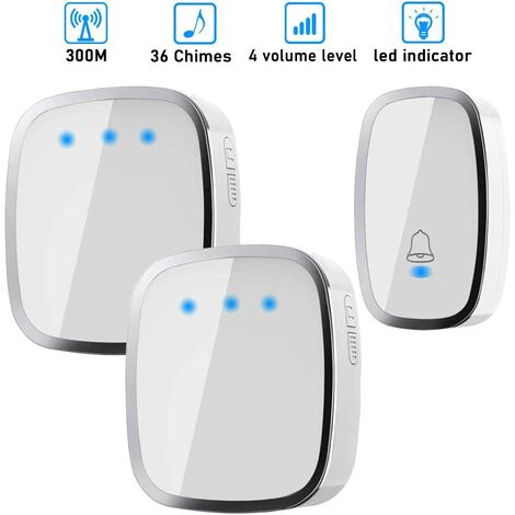 Wireless Doorbell, Wireless Chime Waterproof to 300 Meters Range, Chime Kit with LED and 36 Melodies at 4 Volume Level for Home, Office, Hotel-1 Transmitter and 2 Receivers Included