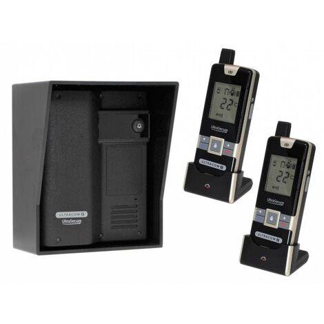 Wireless Gate & Door Intercom with 2 x Handsets (UltraCom2 No keypad) Black & Black Hood [006-2640]