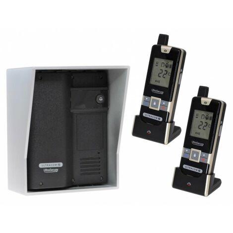 Wireless Gate & Door Intercom with 2 x Handsets (UltraCom2 No keypad) Black with Silver Hood [006-2650]