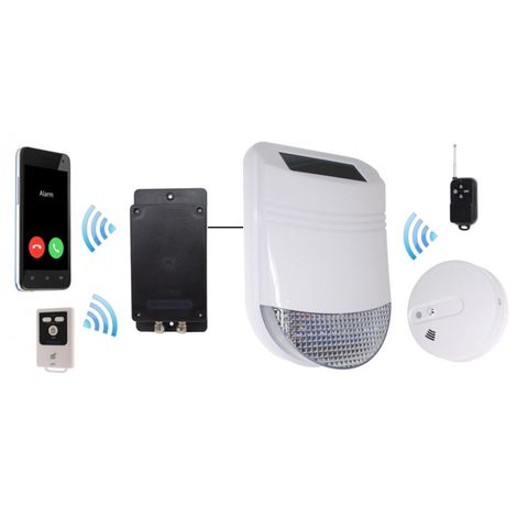 Wireless HY Solar Siren Smoke & Heat Alarm with Battery GSM Dialler