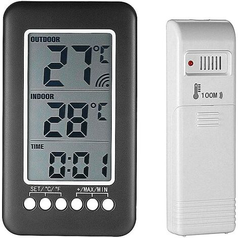 """main image of """"Wireless indoor outdoor thermometer with clock Digital wireless weather station with outdoor sensor, black friday 2020 Temperature monitor Intelligent LCD display ° C / ° F"""""""