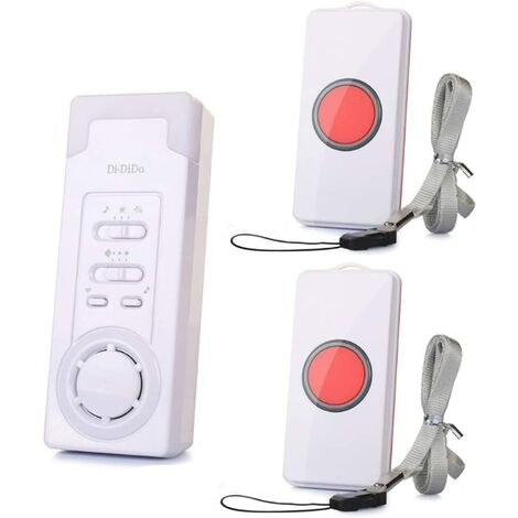 Wireless intelligent personal alarm system with call button, doorbell, nurse alert system, operating range 1-2m (1 in 2)