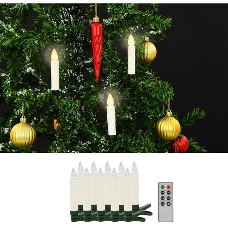 Wireless LED Candles with Remote Control 10 pcs Warm White
