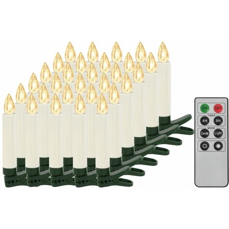 Wireless LED Candles with Remote Control 30 pcs Warm White