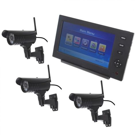 Wireless Network CCTV with 3 x 20 metre Night Vision External Cameras [002-1870]