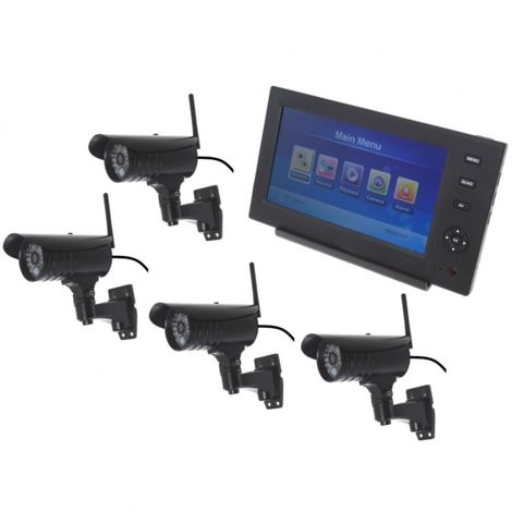 Wireless Network CCTV with 4 x 20 metre Night Vision External Cameras [002-1880]