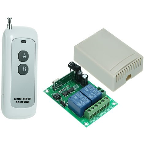 Wireless Remote Control Switch Receiver And 2 Key Remote Controls 1Pc